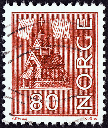 stave: NORWAY - CIRCA 1972: A stamp printed in Norway shows Urnes Stave Church, circa 1972. Editorial