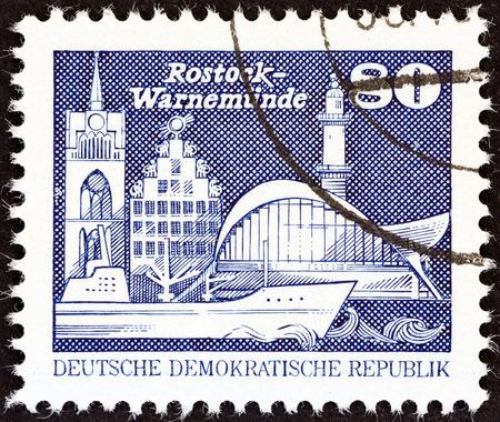rostock: GERMAN DEMOCRATIC REPUBLIC - CIRCA 1981: A stamp printed in Germany shows Warnemunde, Rostock, circa 1981. Editorial