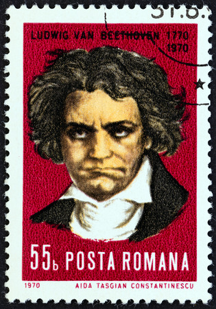 ludwig: ROMANIA - CIRCA 1970: A stamp printed in Romania issued for the 200th anniversary of the birth of Ludwig Van Beethoven shows Ludwig Van Beethoven, circa 1970. Editorial