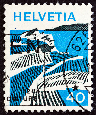 helvetica: SWITZERLAND - CIRCA 1973: A stamp printed in Switzerland from the Landscapes  issue shows Riex (Waadt), circa 1973.
