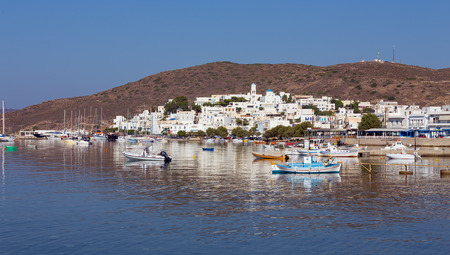 View of Adamantas village, Milos island, Cyclades, Greece photo