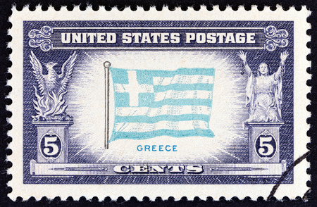 overrun: USA - CIRCA 1943: A stamp printed in USA from the Overrun Countries  issue shows flag of Greece, circa 1943. Editorial