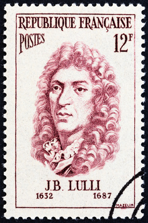 postes: FRANCE - CIRCA 1956: A stamp printed in France from the Famous Men  issue shows composer Jean-Baptiste Lully, circa 1956.