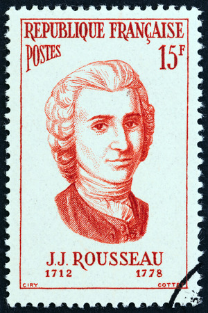 FRANCE - CIRCA 1956: A stamp printed in France from the Famous Men  issue shows philosopher Jean-Jacques Rousseau, circa 1956.