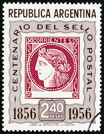 corrientes: ARGENTINA - CIRCA 1956: A stamp printed in Argentina issued for the Centenary of 1st Argentine Stamps shows Corrientes Stamp of 1856 (Ceres, the Roman goddess of agriculture), circa 1956.