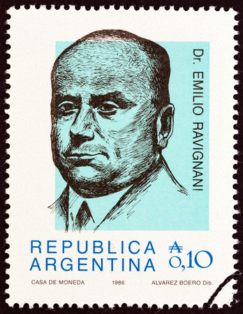 historian: ARGENTINA - CIRCA 1986: A stamp printed in Argentina from the Personalities  issue shows Dr. Emilio Ravignani, historian, circa 1986.