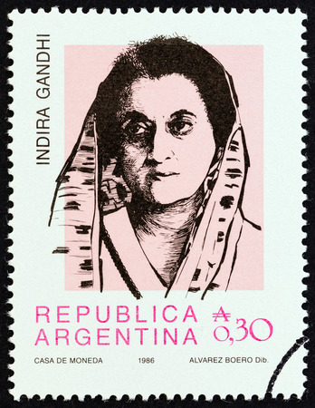 indian postal stamp: ARGENTINA - CIRCA 1986: A stamp printed in Argentina from the Personalities  issue shows Indira Gandhi, third Prime Minister of India, circa 1986. Editorial