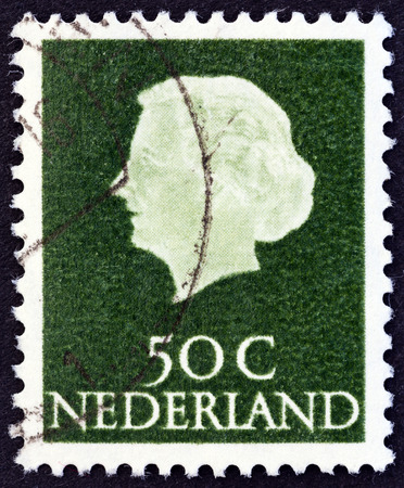 NETHERLANDS - CIRCA 1953: A stamp printed in the Netherlands shows Queen Juliana, circa 1953. Editorial