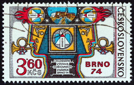 posthorn: CZECHOSLOVAKIA - CIRCA 1974: A stamp printed in Czechoslovakia issued for the BRNO 74 National Stamp Exhibition shows Exhibition Allegory, circa 1974.