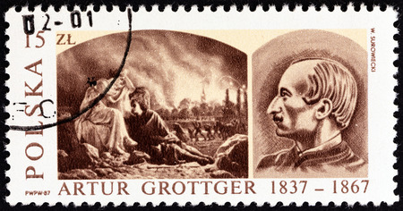 ravage: POLAND - CIRCA 1987: A stamp printed in Poland issued for the 150th birth anniversary of Artur Grottger (artist) shows Ravage from War Cycle and Artur Grottger, circa 1987.