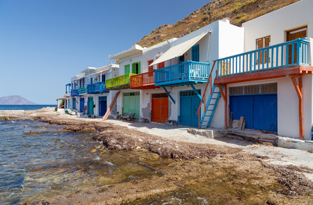 Klima fishing village, Milos island, Cyclades, Greece photo