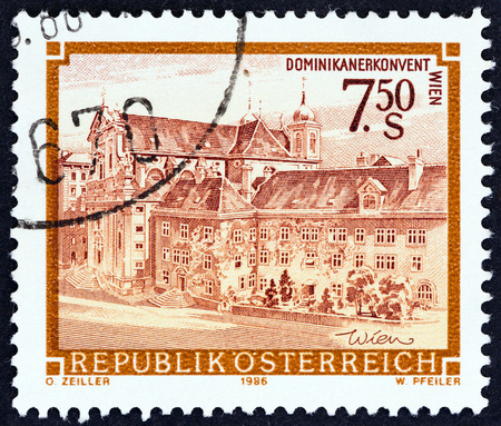 abbeys: AUSTRIA - CIRCA 1986: A stamp printed in Austria from the Monasteries and Abbeys issue shows Dominican Abbey, Vienna, circa 1986.