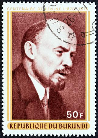 timbre: BURUNDI - CIRCA 1970: A stamp printed in Burundi issued for the birth centenary of Lenin shows Vladimir Ilyich Lenin, circa 1970. Editorial