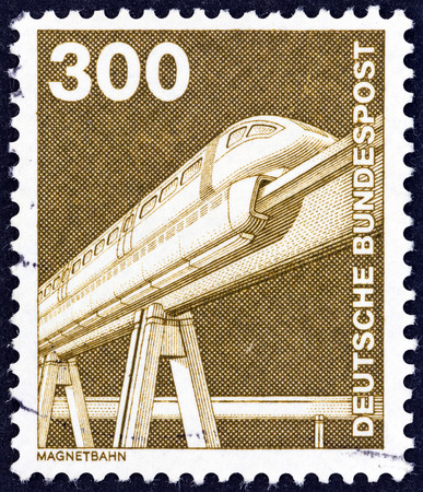 bundespost: GERMANY - CIRCA 1975: A stamp printed in Germany from the Industry and Technology issue shows Electromagnetic monorail, circa 1975.