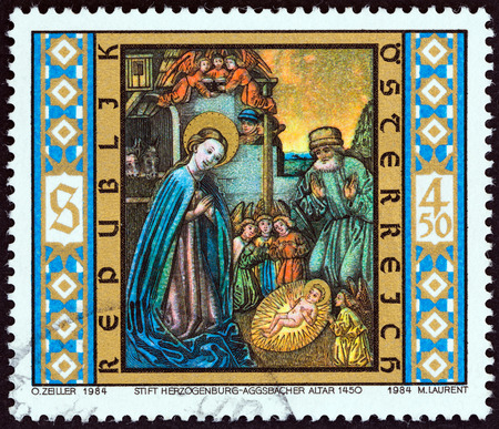 high altar: AUSTRIA - CIRCA 1984: A stamp printed in Austria from the Christmas  issue shows Holy Family (detail, Aggsbach Old High Altar, 1450), circa 1984.