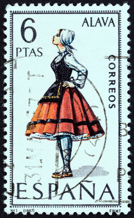 alava: SPAIN - CIRCA 1967: A stamp printed in Spain from the Provincial Costumes issue shows a woman from Alava, circa 1967. Editorial