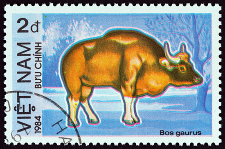 bos: VIETNAM - CIRCA 1984: A stamp printed in Vietnam from the \\\Protected Animals \\\ issue shows Gaur (Bos gaurus), circa 1984.