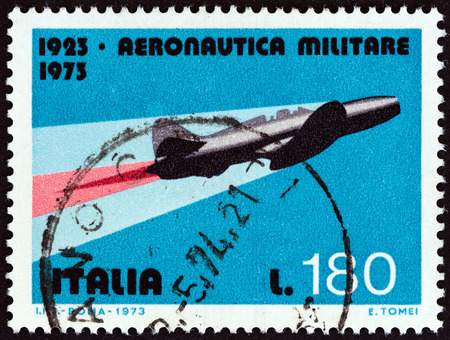 estampilla: ITALY - CIRCA 1973: A stamp printed in Italy from the \50th Anniversary of Military Aviation \ issue shows Caproni Campini N.1 jet airplane, circa 1973.