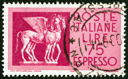 etruscan: ITALY - CIRCA 1958: A stamp printed in Italy shows Etruscan Horses, circa 1958.