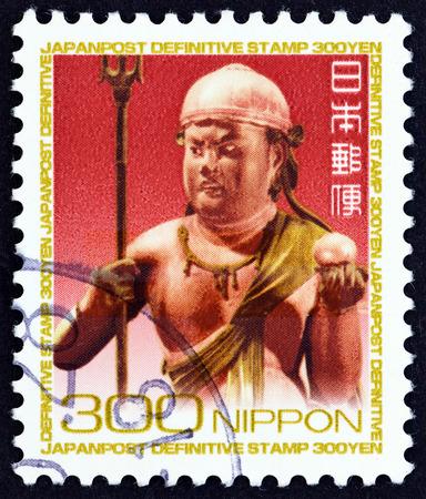 sello: JAPAN - CIRCA 2009: A stamp printed in Japan shows Ekidouji-zou, Kongobu-ji temple, circa 2009.