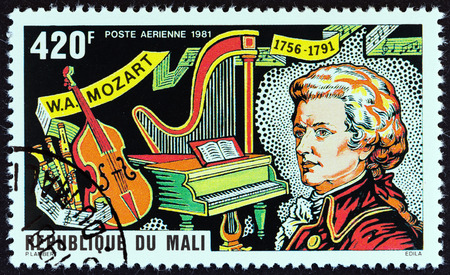 mozart: MALI - CIRCA 1981: A stamp printed in Mali from the 225th Birth anniversary of Mozart  issue shows Mozart and Musical Instruments, circa 1981.