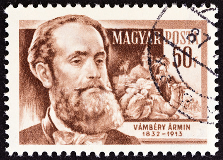 camel post: HUNGARY - CIRCA 1954: A stamp printed in Hungary from the Scientists  issue shows Turkolog Armin Vambery (1832-1913), circa 1954.