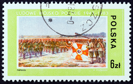 polska: POLAND - CIRCA 1983: A stamp printed in Poland from the 40th Anniversary of the Polish Peoples Army  issue shows Defence led by Tadeusz Kosciuszko (Stanislaw Poznanski), circa 1983. Editorial