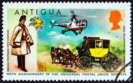sello: ANTIGUA - CIRCA 1974: A stamp printed in Antigua issued for the Centenary of U.P.U. shows English Postman, Mailcoach and Westland Dragonfly Helicopter, circa 1974. Editorial