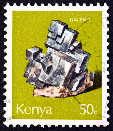 sphalerite: KENYA - CIRCA 1977: A stamp printed in Kenya from the Minerals  issue shows Galena, circa 1977.