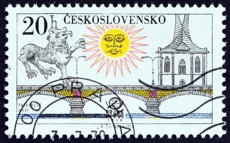 praga: CZECHOSLOVAKIA - CIRCA 1978: A stamp printed in Czechoslovakia from the PRAGA 78 International Stamp Exhibition. Prague Bridges  issue shows Palacky Bridge, circa 1978. Editorial