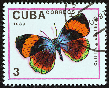 cuba butterfly: CUBA - CIRCA 1989: A stamp printed in Cuba from the Butterflies  issue shows Asterope sapphira (Callithea saphhira) butterfly, circa 1989.