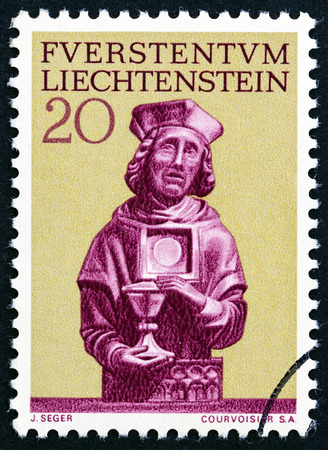 florin: LIECHTENSTEIN - CIRCA 1966: A stamp printed in Liechtenstein from the Restoration of the Parish Church in Vaduz issue shows St. Florin, circa 1966. Editorial