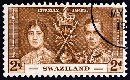 vi: SWAZILAND - CIRCA 1937: A stamp printed in Swaziland from the Coronation issue shows King George VI and Queen Elizabeth, circa 1937.