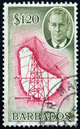 BARBADOS CIRCA 1950 A Stamp Printed In Barbados Shows Large