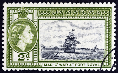 sello: JAMAICA - CIRCA 1955: A stamp printed in Jamaica issued for the 300th Anniversary of Jamaica Editorial