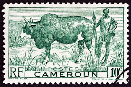 herdsman: CAMEROON - CIRCA 1946: A stamp printed in France shows Zebu and Herdsman, circa 1946.