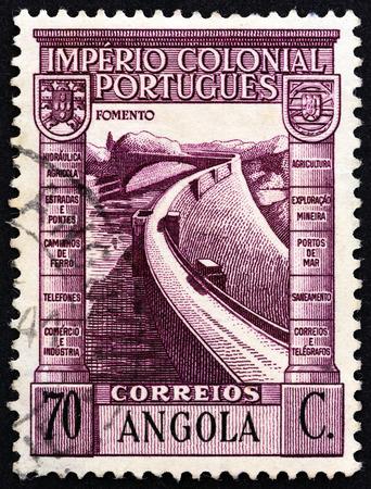 barrage: ANGOLA - CIRCA 1938: A stamp printed in Angola shows Barrage, circa 1938.