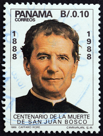 sello: PANAMA - CIRCA 1989: A stamp printed in Panama from the 100th anniversary of the death of St. John Bosco, founder of Salesian Brothers, 1815-1888 issue shows St. John Bosco, circa 1989.