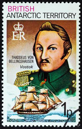 sello: BRITISH ANTARCTIC TERRITORY - CIRCA 1973: A stamp printed in United Kingdom shows Thaddeus von Bellingshausen and Vostok, circa 1973.