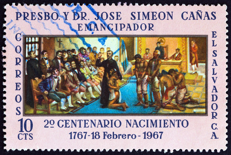 humanist: EL SALVADOR - CIRCA 1967: A stamp printed in El Salvador issued for the 200th birth anniversary of Father J.S. Canas y Villacorta shows Father Canas pleading for slaves, circa 1967.