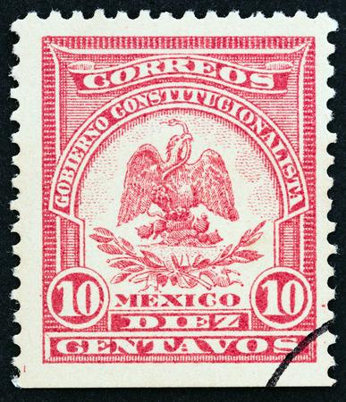 MEXICO - CIRCA 1914: A stamp printed in Mexico shows Coat of Arms, circa 1914.