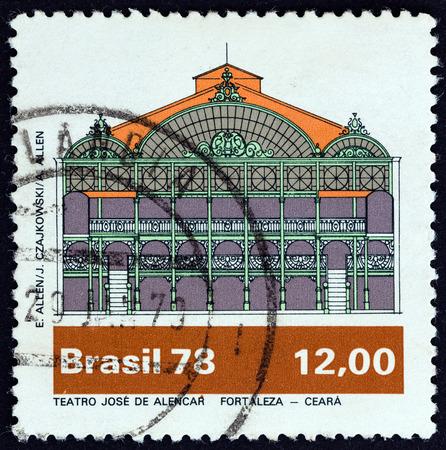 BRAZIL - CIRCA 1978: A stamp printed in Brazil from the  Brazilian Theatres  issue shows Jose de Alencar Theatre, Fortaleza, Ceara, circa 1978.
