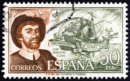 cano: SPAIN - CIRCA 1976: A stamp printed in Spain from the Explorers issue shows Juan Sebastian Elcano and Victoria, circa 1976.