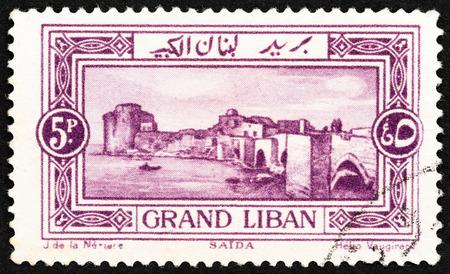 sello: LEBANON - CIRCA 1925: A stamp printed in Lebanon shows Sea Castle, Sidon, circa 1925. Editorial