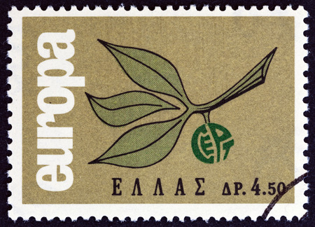 stempeln: GREECE  CIRCA 1965: A stamp printed in Greece from the Editorial