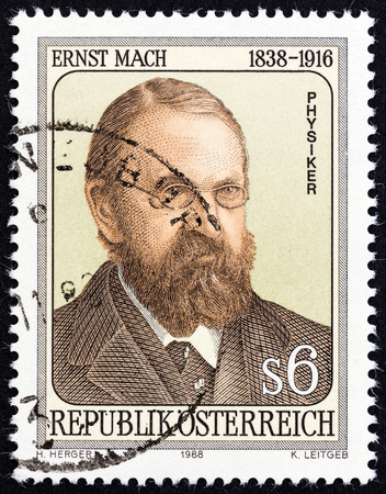 mach: AUSTRIA  CIRCA 1988: A stamp printed in Austria issued for the 150th anniversary of the birth of Ernst Mach shows physicist and philosopher Ernst Mach circa 1988.