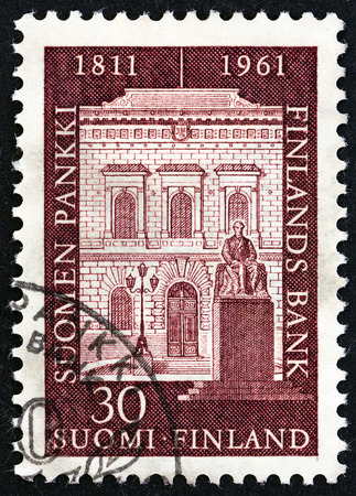 issued: FINLAND  CIRCA 1961: A stamp printed in Finland issued for the 150th anniversary of Bank of Finland shows Bank Facade circa 1961.