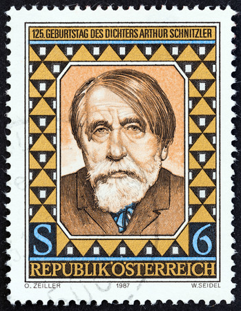dramatist: AUSTRIA  CIRCA 1987: A stamp printed in Austria issued for the 125th anniversary of the birth of Arthur Schnitzler shows author and dramatist Arthur Schnitzler circa 1987.