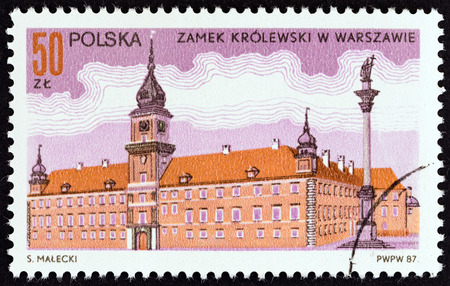 polska: POLAND  CIRCA 1987: A stamp printed in Poland shows Royal Palace Warsaw circa 1987.