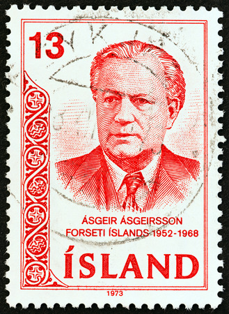 issued: ICELAND  CIRCA 1973: A stamp printed in Iceland issued for the 5th death anniversary of Asgeir Asgeirsson shows President Asgeir Asgeirsson circa 1973. Editorial